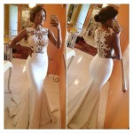 Cheap Sexy O Neck Tank Sleeveless Lace Patchwork Hollow-out White Polyester Mermaid Floor Length Dress-lovelywholesale