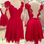 Cheap Sexy V Neck Short Sleeves Backless Red Lace Mini Dress-lovelywholesale