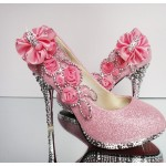 Fashion Round Closed Toe Stiletto Super High Party Pink Suede Pumps-lovelywholesale